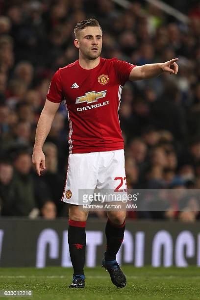 Luke Shaw of Manchester United gestures during the FA Cup fourth round match between Manchester United and Wigan Athletic at Old Trafford on January...