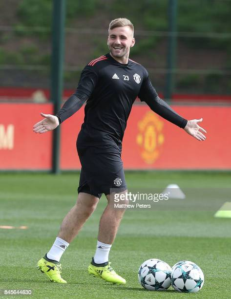 Luke Shaw of Manchester United in action during a first team training session at Aon Training Complex on September 11 2017 in Manchester England