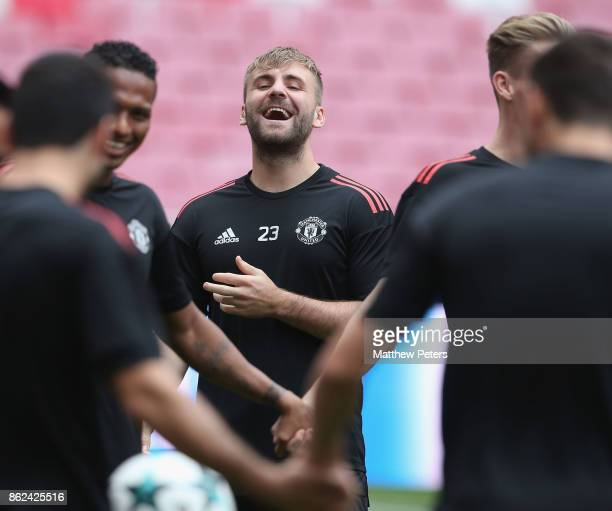 Luke Shaw of Manchester United in action during a training session ahead of their UEFA Champions League match against Benfica on October 17 2017 in...
