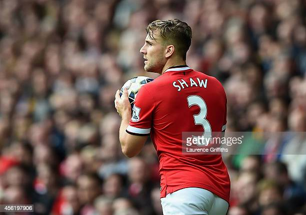 Luke Shaw of Manchester United in action during the Barclays Premier League match between Manchester United and West Ham United at Old Trafford on...
