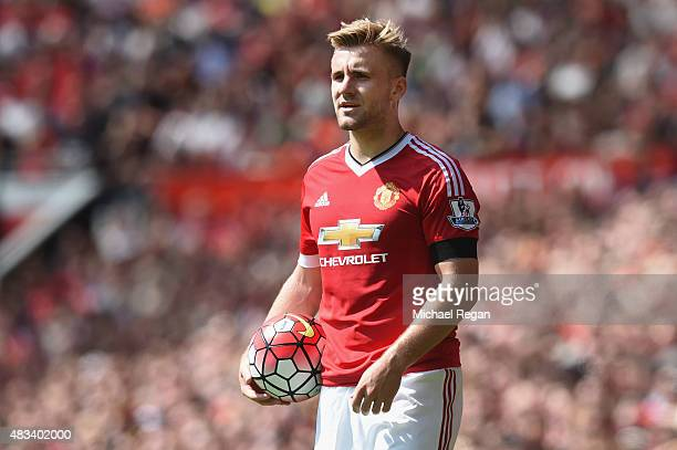 Luke Shaw of Manchester United in action during the Barclays Premier League match between Manchester United and and Tottingham Hotspur at Old...