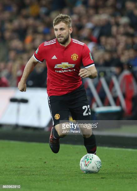 Luke Shaw of Manchester United in action during the Carabao Cup Fourth Round match between Swansea City and Manchester United at Liberty Stadium on...