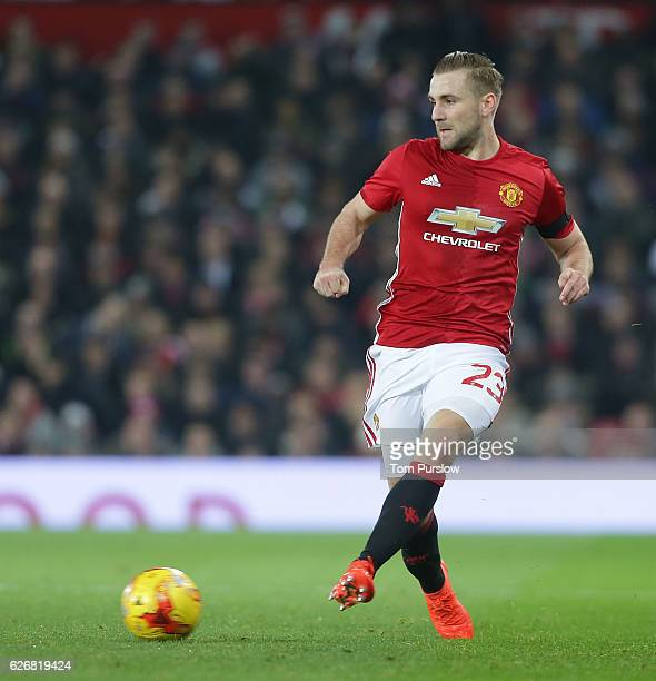 Luke Shaw of Manchester United in action during the EFL Cup QuarterFinal match between Manchester United and West Ham United at Old Trafford on...