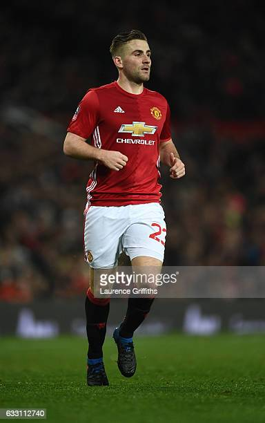 Luke Shaw of Manchester United in action during the Emirates FA Cup Fourth Round match between Manchester United and Wigan Athletic at Old Trafford...