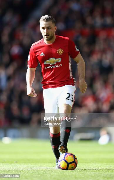 Luke Shaw of Manchester United in action during the Premier League match between Manchester United and AFC Bournemouth at Old Trafford on March 4...