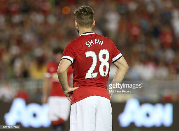 Luke Shaw of Manchester United in action during the preseason friendly match between LA Galaxy and Manchester United at Rose Bowl on July 23 2014 in...