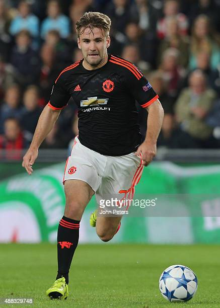 Luke Shaw of Manchester United in action during the UEFA Champions League match between PSV Eindhoven and Manchester United at Philips Stadion on...
