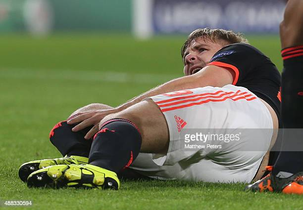 Luke Shaw of Manchester United lies injured during the UEFA Champions League match between PSV Eindhoven and Manchester United at Philips Stadion on...