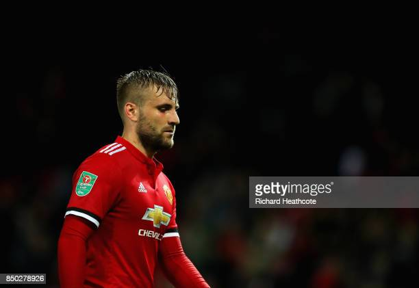 Luke Shaw of Manchester United looks on during the Carabao Cup Third Round match between Manchester United and Burton Albion at Old Trafford on...