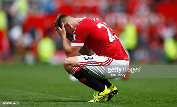 Luke Shaw of Manchester United reacts after the 00 draw in the Barclays Premier League match between Manchester United and Newcastle United at Old...