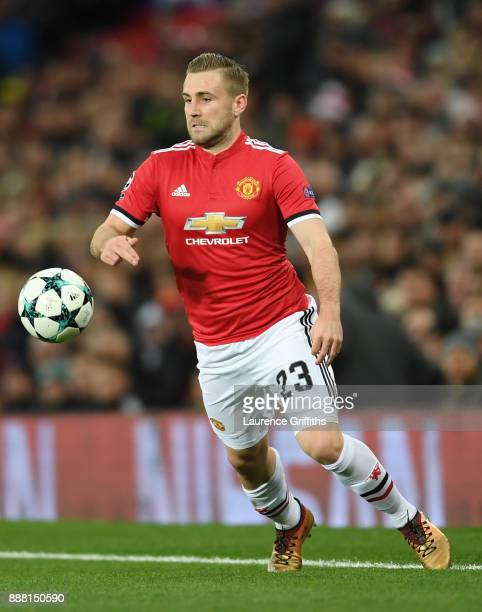 Luke Shaw of Manchester United runs with the ball during the UEFA Champions League group A match between Manchester United and CSKA Moskva at Old...