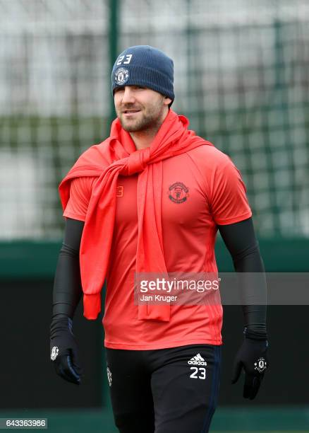 Luke Shaw of Manchester United walks wout for a training session ahead of the UEFA Europa League roundof32 second leg against St Etienne at Aon...