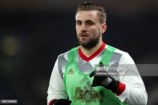 Luke Shaw of Manchester United warms up during the EFL Cup SemiFinal second leg match between Hull City and Manchester United at KCOM Stadium on...