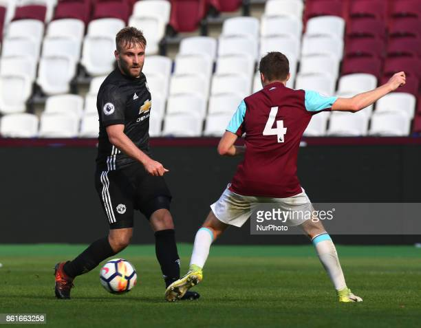 Luke Shaw of Manchester United's Under 23 during Premier League 2 Division 1 match between West Ham United Under 23s and Manchester United Under 23s...
