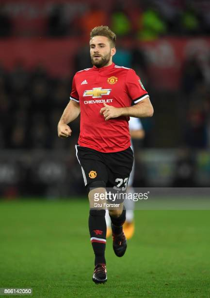 Luke Shaw of United in action during the Carabao Cup Fourth Round match between Swansea City and Manchester United at Liberty Stadium on October 24...