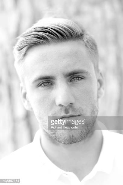 Luke Shaw poses for a picture after a press conference at the England preWorld Cup Training Camp at the Vale Do Lobo Resort on May 21 2014 in Vale Do...