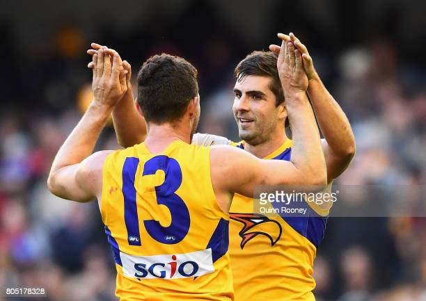 Luke Shuey and Andrew Gaff of the Eagles celebrate winning during the round 15 AFL match between the Western Bulldogs and the West Coast Eagles at...