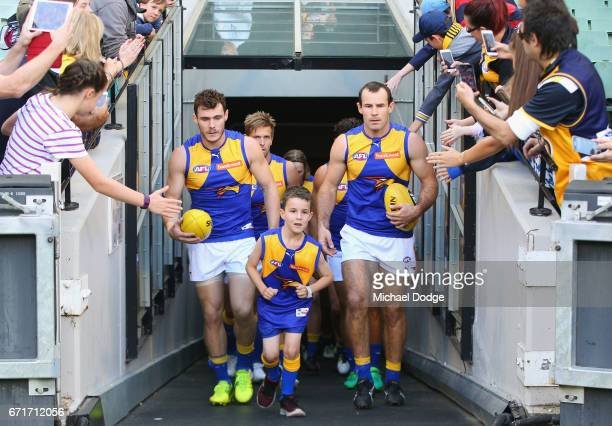 Luke Shuey of the Eagles and Shannon Hurn of the Eagles leads the team out during the round five AFL match between the Hawthorn Hawks and the West...