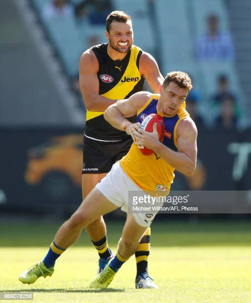 Luke Shuey of the Eagles and Toby Nankervis of the Tigers in action during the 2017 AFL round 03 match between the Richmond Tigers and the West Coast...