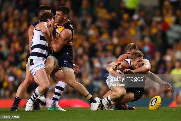 Luke Shuey of the Eagles bumps Patrick Dangerfield of the Cats while Nathan Vardy tackles Scott Selwood during the round 13 AFL match between the...