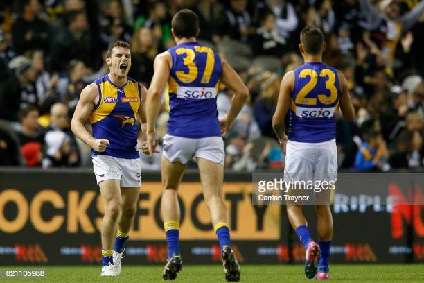 Luke Shuey of the Eagles celebrates a goal during the round 18 AFL match between the Collingwood Magpies and the West Coast Eagles at Etihad Stadium...