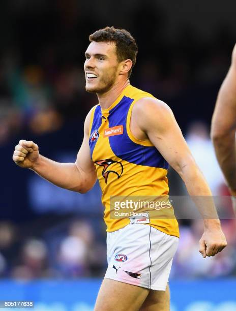 Luke Shuey of the Eagles celebrates winning the round 15 AFL match between the Western Bulldogs and the West Coast Eagles at Etihad Stadium on July 1...