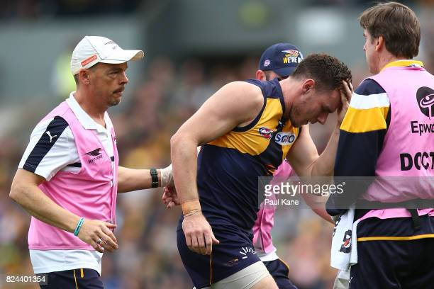Luke Shuey of the Eagles comes from the ground with a lower leg injury during the round 19 AFL match between the West Coast Eagles and the Brisbane...