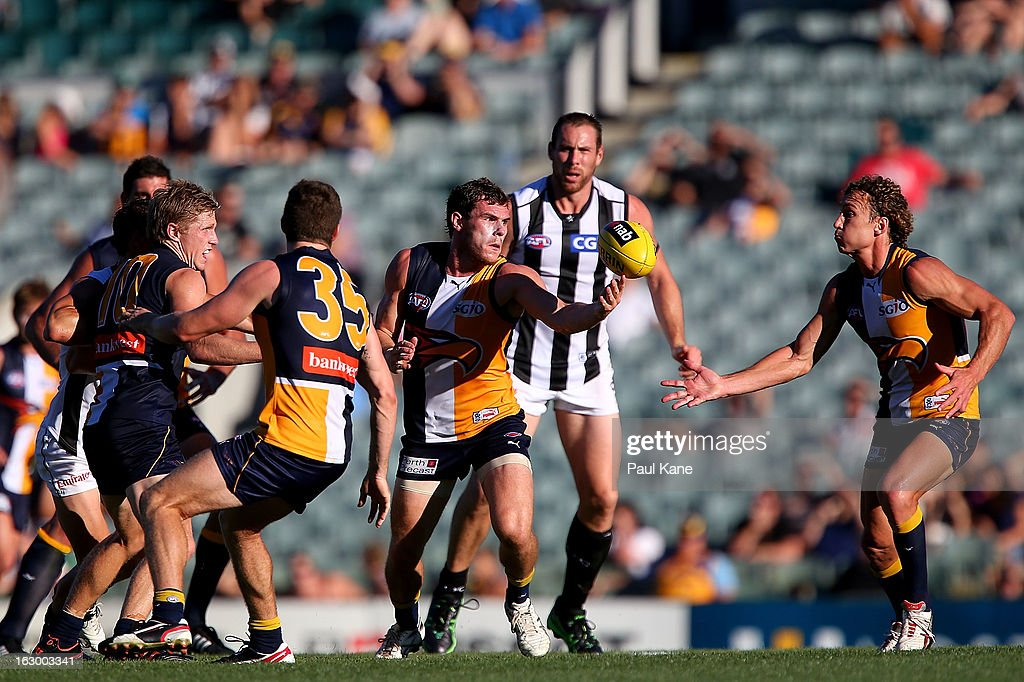 Luke Shuey of the Eagles gathers the ball during the round two AFL NAB Cup match between the West Coast Eagles and the Collingwood Magpies at Patersons Stadium on March 3, 2013 in Perth, Australia.
