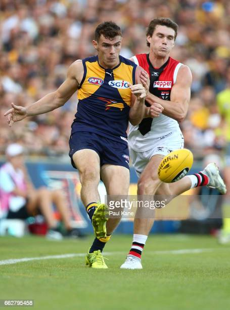 Luke Shuey of the Eagles gets his kick away during the round two AFL match between the West Coast Eagles and the St Kilda Saints at Domain Stadium on...