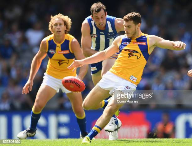 Luke Shuey of the Eagles kicks during the round one AFL match between the North Melbourne Kangaroos and the West Coast Eagles at Etihad Stadium on...