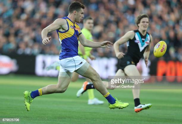 Luke Shuey of the Eagles kicks the ball during the round seven AFL match between the Port Adelaide Power and the West Coast Eagles at Adelaide Oval...