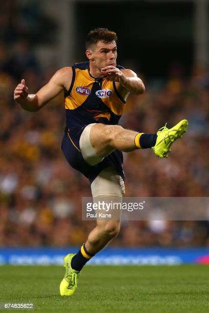 Luke Shuey of the Eagles kicks the ball during the round six AFL match between the West Coast Eagles and the Fremantle Dockers at Domain Stadium on...