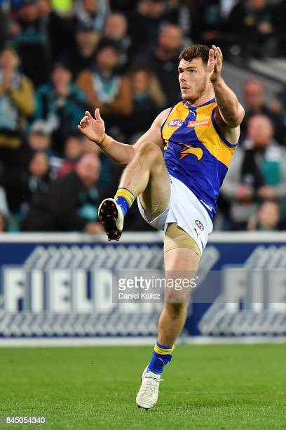 Luke Shuey of the Eagles kicks the winning goal after the siren during the AFL First Elimination Final match between Port Adelaide Power and West...