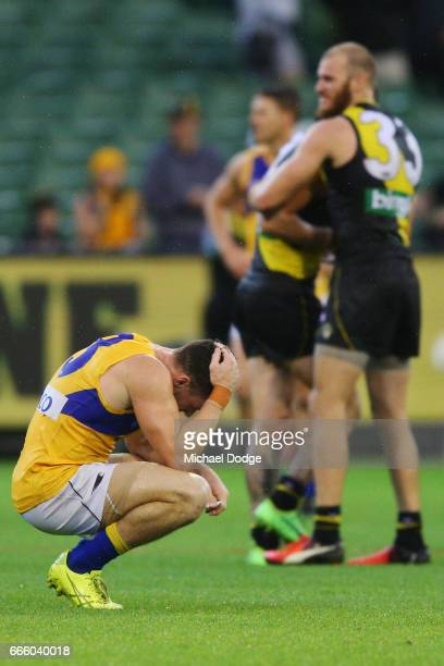 Luke Shuey of the Eagles looks dejected after defeat during the round three AFL match between the Richmond Tigers and the West Coast Eagles at...
