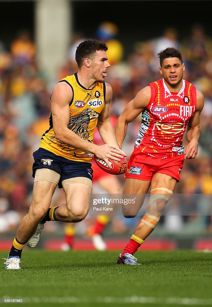 Luke Shuey of the Eagles looks to pass the ball during the round 10 AFL match between the West Coast Eagles and the Gold Coast Suns at Domain Stadium on May 29, 2016 in Perth, Australia.