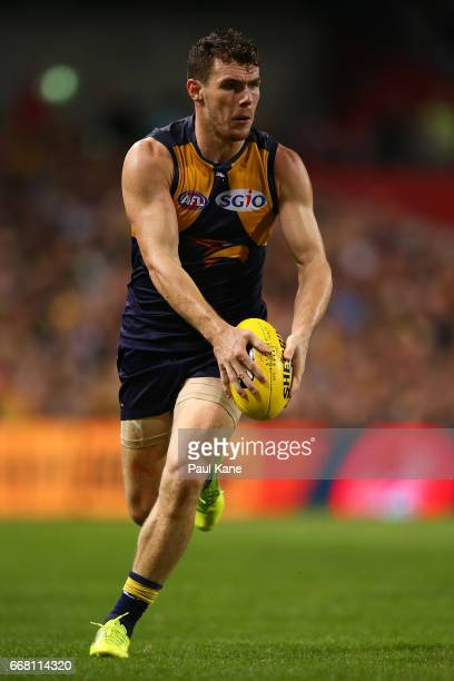 Luke Shuey of the Eagles looks to pass the ball during the round four AFL match between the West Coast Eagles and the Sydney Swans at Domain Stadium...