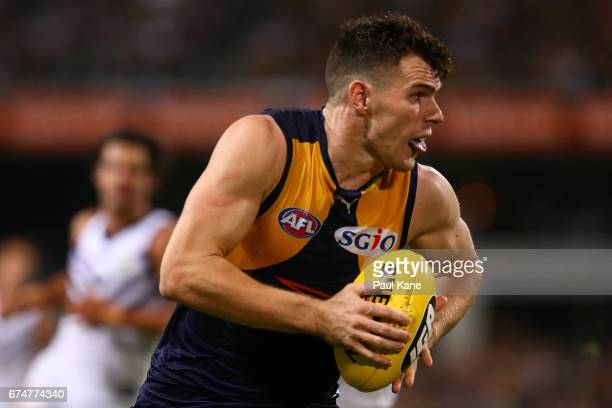 Luke Shuey of the Eagles looks to pass the ball during the round six AFL match between the West Coast Eagles and the Fremantle Dockers at Domain...