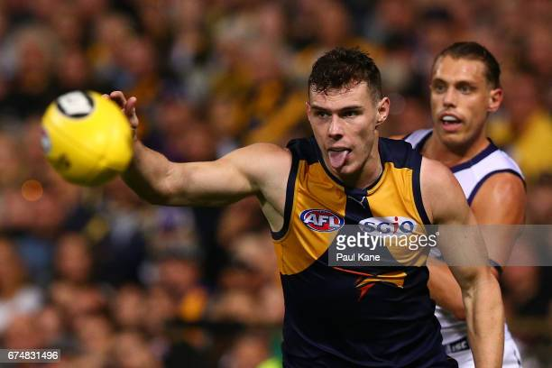 Luke Shuey of the Eagles runs onto the ball during the round six AFL match between the West Coast Eagles and the Fremantle Dockers at Domain Stadium...