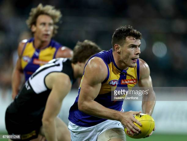 Luke Shuey of the Eagles runs with the ball during the round seven AFL match between the Port Adelaide Power and the West Coast Eagles at Adelaide...