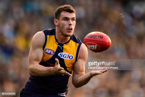 Luke Shuey of the Eagles takes a mark during the 2017 AFL round 19 match between the West Coast Eagles and the Brisbane Lions at Domain Stadium on...