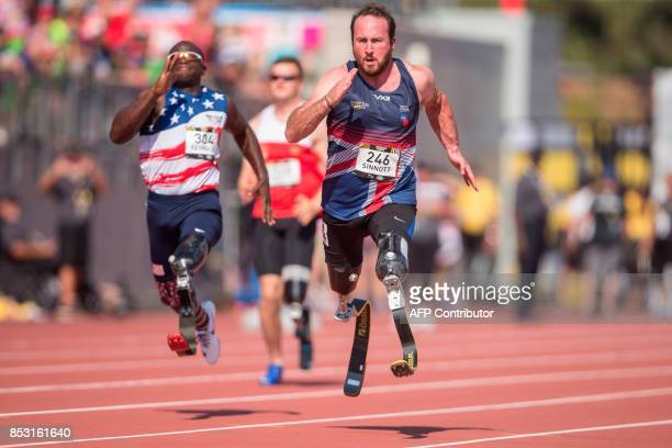 TOPSHOT Luke Sinnott of Britain competes in the men's IT2 100 meters at the athletics competition at the Invictus Games in Toronto Ontario September...