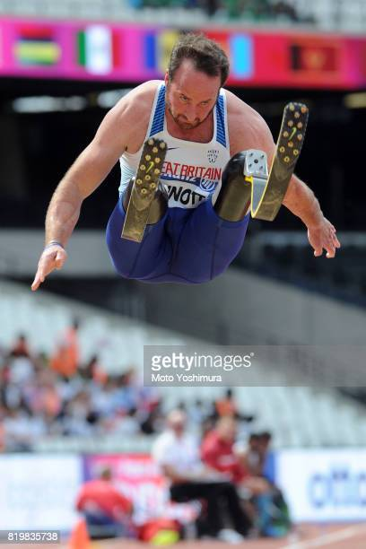 Luke Sinnott of Great Britain competes in the Men's Long Jump T42 during Day Five of the IPC World ParaAthletics Championships 2017 London at London...