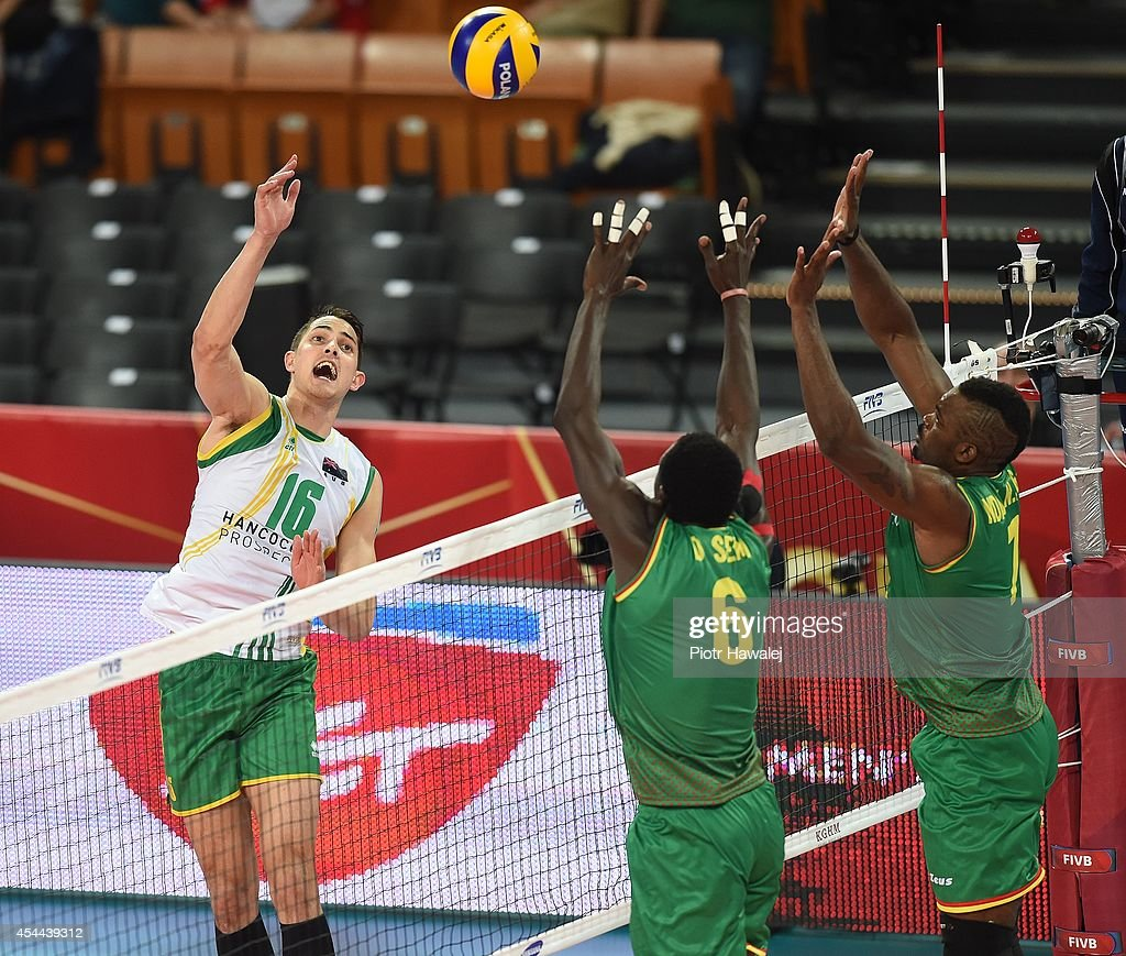 Luke Smith of Australia spikes the ball during the FIVB World Championships match between Cameroon and Australia on August 31, 2014 in Wroclaw, Poland.