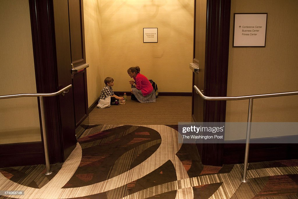 Luke Spring, 10, with his mother Jill Spring has some quiet time before he performs in the Junior Gala during the New York City Dance Alliance National Summer Workshop held at the Sheraton New York Times Square Hotel in New York, NY on July 05, 2013. Luke Spring, a dance prodigy from Studio Bleu Dance Center in Ashburn, VA, has performed on the Tonys, Ellen, So You Think You Can Dance and The Ford Gala. His sisters Cami Spring, 20, and Lucy Spring, 18, are both award winning dancers.
