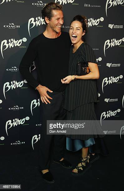 Luke Stedman and Kym Ellery arrive at the Buro 24/7 Australia launch at the Sydney Opera House on April 14 2015 in Sydney Australia