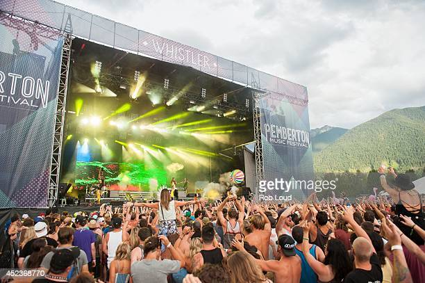 Luke Steele and Nick Littlemore of Empire of the Sun perform at the Pemberton Festival on July 18 2014 in Pemberton Canada