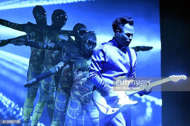 Luke Steele of Empire of the Sun performs during the 2016 Life is Beautiful festival on September 24 2016 in Las Vegas Nevada