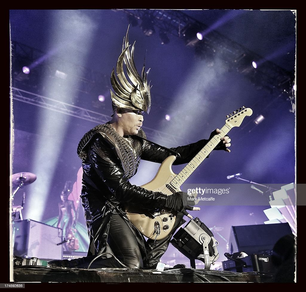 Luke Steele of Empire of the Sun performs for fans on day 2 of the 2013 Splendour In The Grass Festival on July 27, 2013 in Byron Bay, Australia.