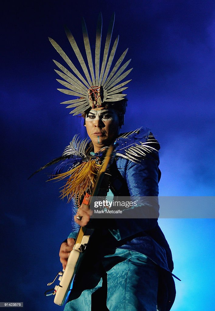 Luke Steele of Empire of the Sun performs on stage during the Parklife Festival at Kippax Lake on October 4, 2009 in Sydney, Australia.