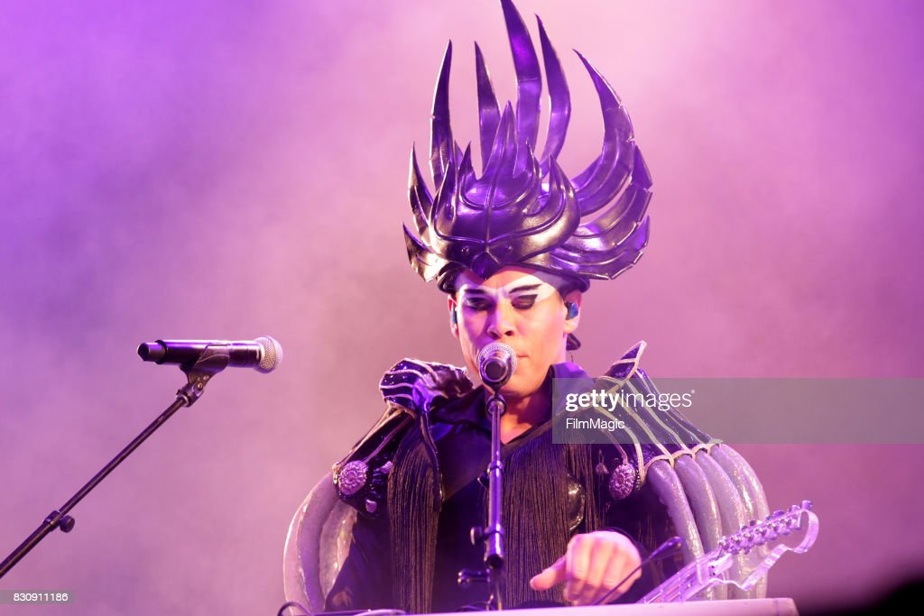 Luke Steele of Empire of the Sun performs on the Twin Peaks Stage during the 2017 Outside Lands Music And Arts Festival at Golden Gate Park on August 12, 2017 in San Francisco, California.